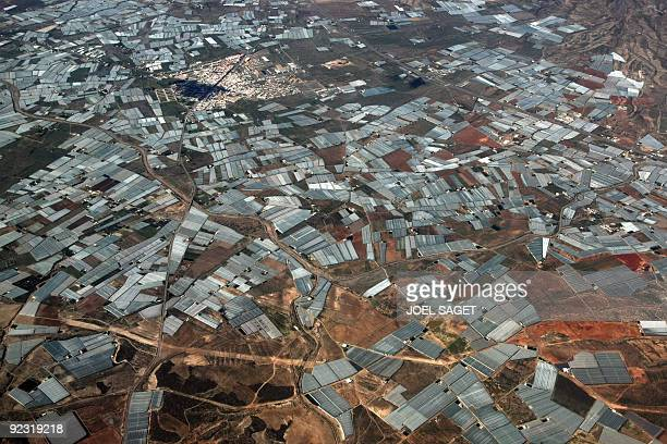 An aerial view taken on October 23 2009 in the coastal area of Almeria where is produced much of northern Europe's fruit and vegetables shows some of...