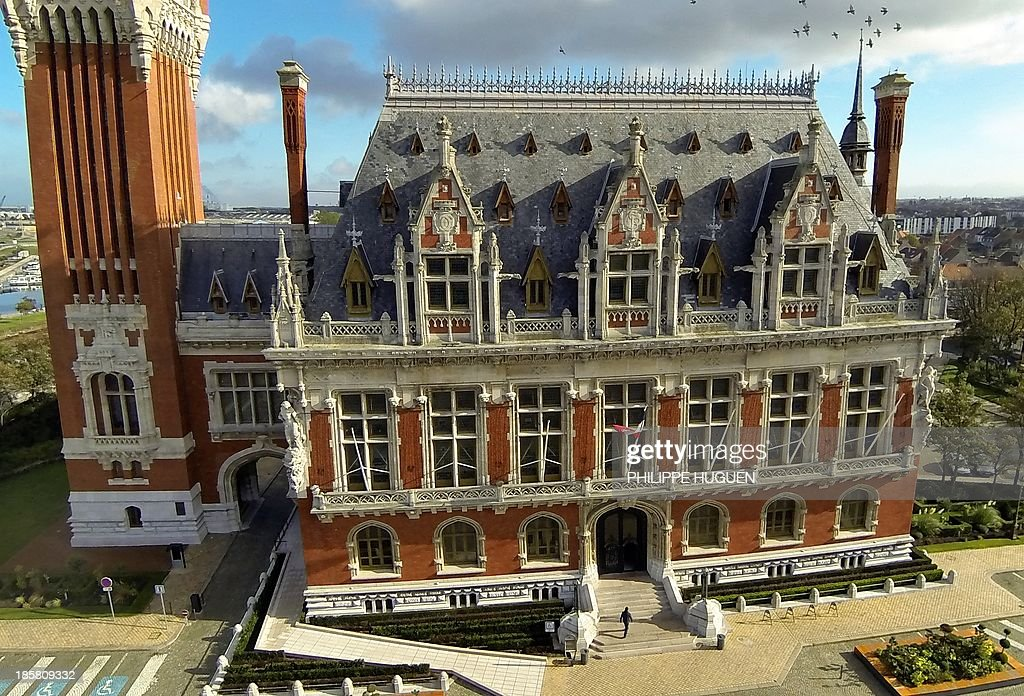 An aerial view taken on October 24, 2013 shows the northern France city of Calais' city hall.