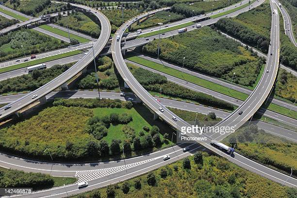 An aerial views of the motorway ring of Brussels on March 32012 in BrusselsBelgium