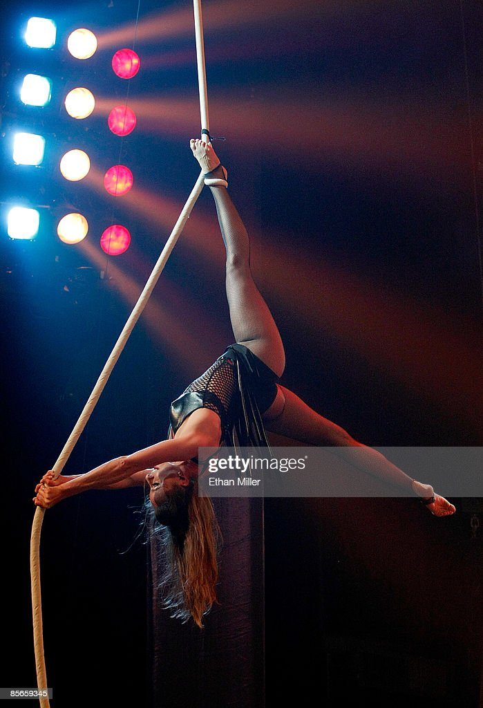 An aerialist performs at the Monster Circus show at the Las Vegas Hilton early March 27 2009 in Las Vegas Nevada The show combines a concert...