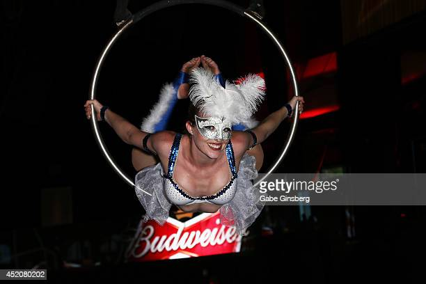 An aerialist performs during the FIFA World Cup Final Bud Light and Budweiser VIP Party at Rain Nightclub inside The Palms Casino Resort on July 12...