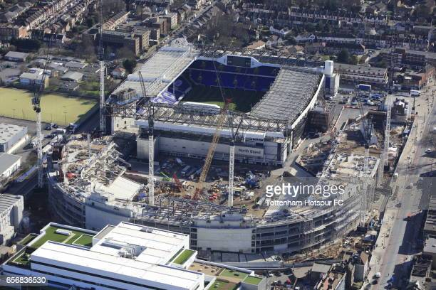 An aeriel view of the construction of Tottenham Hotspur's new stadium on March 13 2017 in London United Kingdom