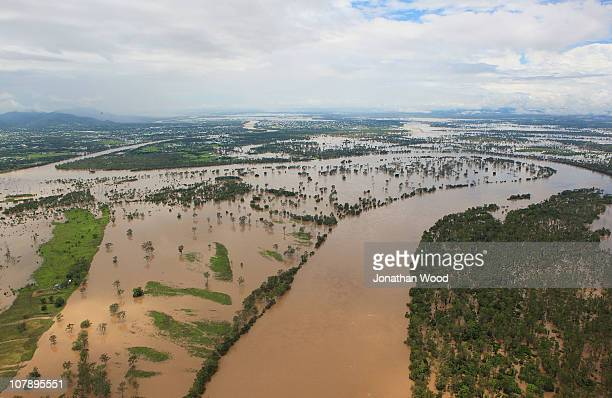 An aeriel view of the Fitzroy river and flood waters looking back towards the city on January 6 2011 in Rockhampton Australia Floodwaters peaked at...