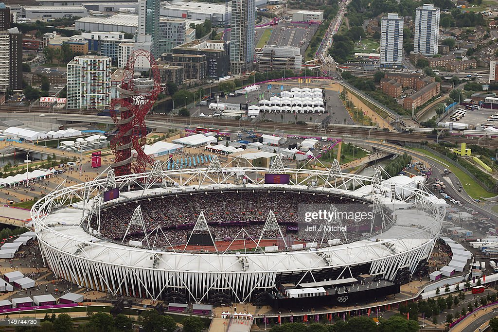 An aeriel view of the Olympic Stadium on Day 7 of the London 2012 Olympic Games at Olympic Park on August 3 2012 in London England
