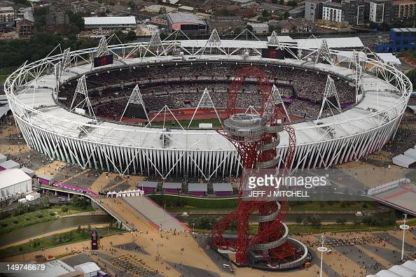 An aeriel view taken on August 3 2012 shows the Olympic Stadium and the ArcelorMittal Orbit tower at the Olympic Park on day 7 of the London 2012...