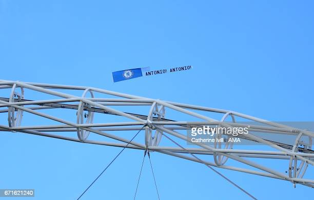 An aeroplane flies a message for Antonio Conte manager of Chelsea over the Wembley arch during the Emirates FA Cup semifinal match between Tottenham...