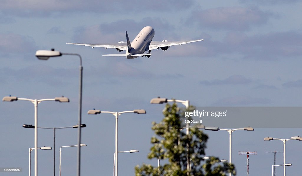 An aeroplane takes off at Heathrow airport on April 21, 2010 in London, England. Airlines are beginning to resume a normal service following six days of airport closures due to volcanic ash from Iceland covering British airspace.
