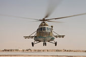 An Afghan Air Force Russian Mil MI-17 helicopter takes off from Camp Shorabak, Afghanistan.