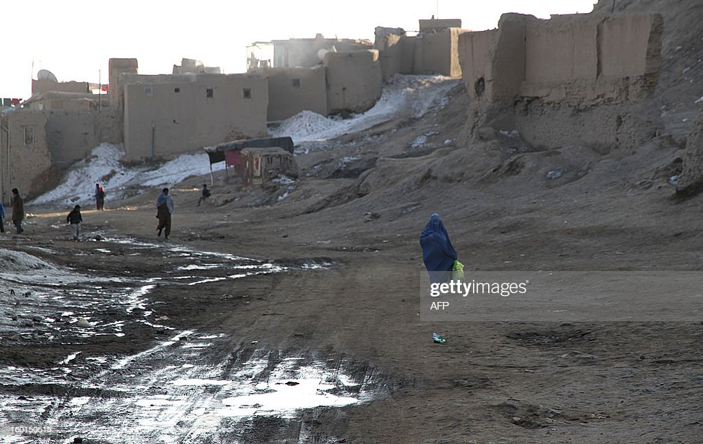 An Afghan woman walks through an old city area of Ghazni province on January 27, 2013. Ghazni is one of the thirty-four provinces and one of Afghanistan's major cities with an estimated population of 141 000 people. It is located in the east of the country along the Kabul to Kandahar road. AFP PHOTO/ Rahmatullah Alizad