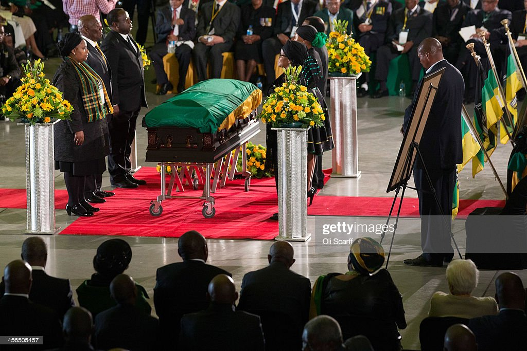 An African National Congress (ANC) led alliance send off ceremony for former South African president Nelson Mandela takes place at Waterkloof military airbase on December 14, 2013 in Pretoria, South Africa. The ANC held an official send off ceremony as the body of former South African President prepares to make one final journey to his hometown of Qunu for burial. Mr. Mandela passed away on the evening of December 5, 2013 at his home in Houghton at the age of 95. Mandela became South Africa's first black president in 1994 after spending 27 years in jail for his activism against apartheid in a racially-divided South Africa.