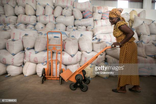 An African worker pushes a wheelbarrow through a warehouse Production of Parboiled Rice in a rice processing plant of the Dreyer Foundation in Dano...