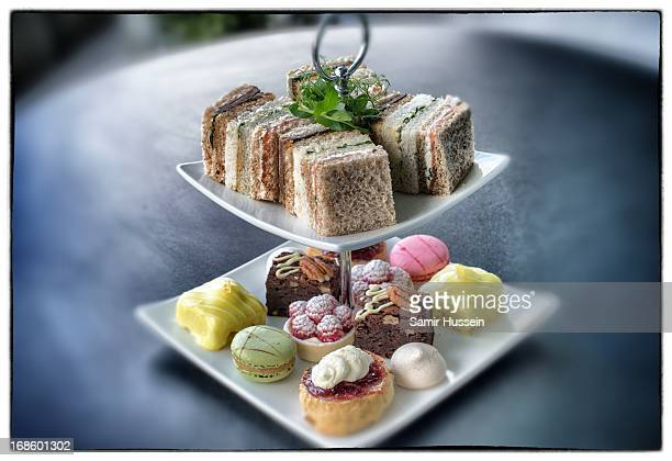 An afternoon tea platter is served during the Race Rattle 'N' Roll Raceday at Ascot Racecourse on May 10 2103 in Ascot England