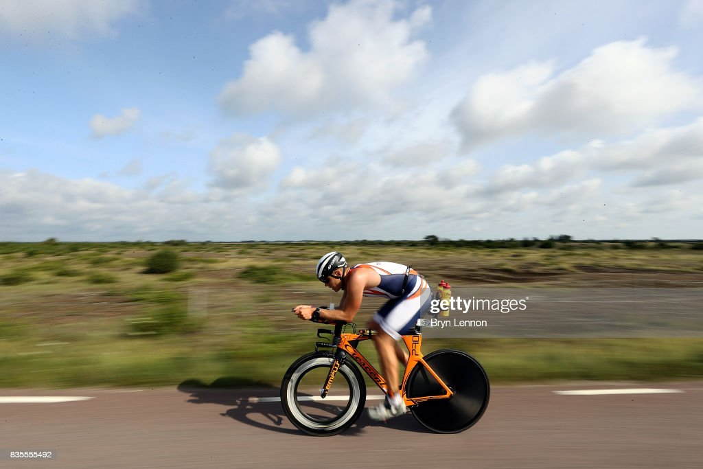 An age group athlete competes in the cycle leg of IRONMAN Kalmar on August 19, 2017 in Kalmar, Sweden.