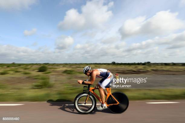 An age group athlete competes in the cycle leg of IRONMAN Kalmar on August 19 2017 in Kalmar Sweden