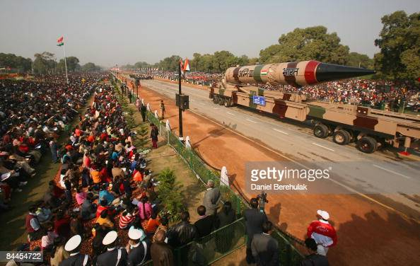 An Agni III nuclear capable missile is paraded during the Republic Day Parade on January 26 2009 in New Delhi India India today celebrates its 60th...