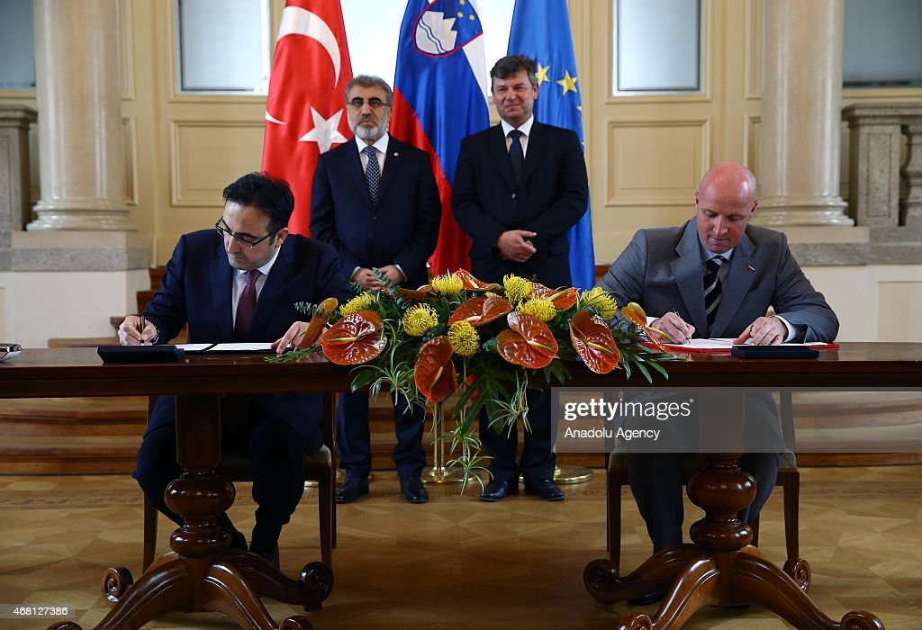 An agreement between Turkey and Slovenia is signed after Turkey's President Recep Tayyip Erdogan and Borut Pahor, President of the Republic of Slovenia meet at the presidential palace in Ljubljana on March 30, 2015.