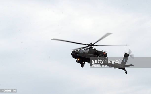 An AH64 Apaches moves away after the end of its demonstrationA airshow was organised in Flisvos Region of Piraeus as a Pre Show for Athens Flying...