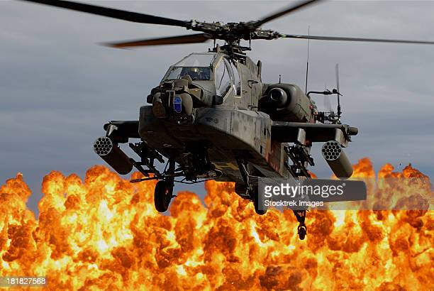 An AH-64D Apache Longbow during a combined arms demonstration.