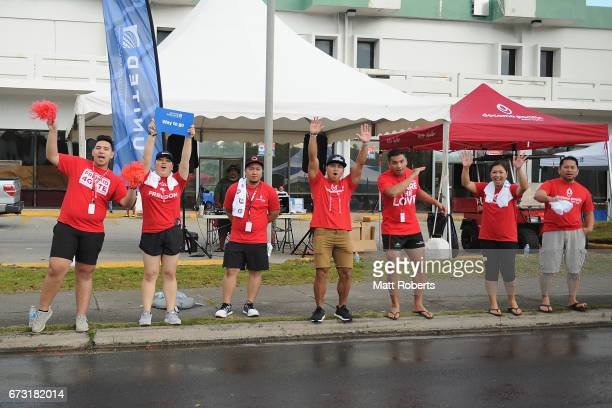 An Aid station is seen during the United Airlines Guam Marathon 2017 on April 9 2017 in Guam Guam