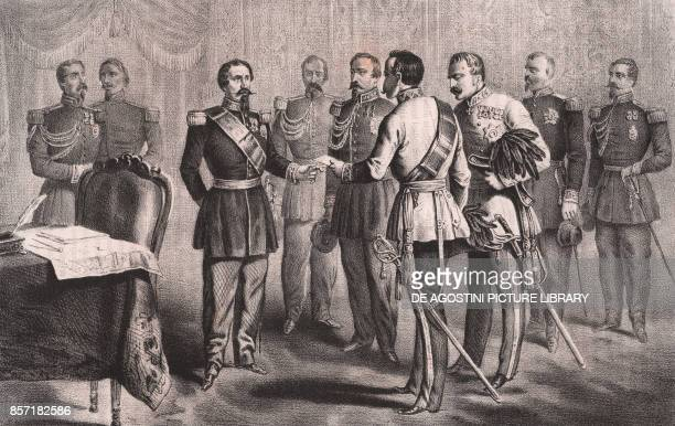 An aide of General Zobel presenting himself to Napoleon III Second War of Independence lithograph 26x18 cm from the Italian War of 1859