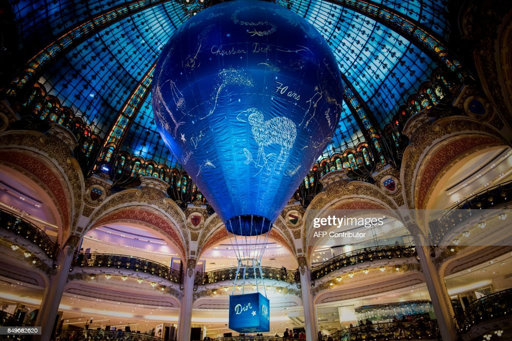An air balloon is displayed during an exhibition to celebrate the 70th anniversary of the Christian Dior brand at the Galeries Lafayette Haussmann in Paris on September 19, 2017. /