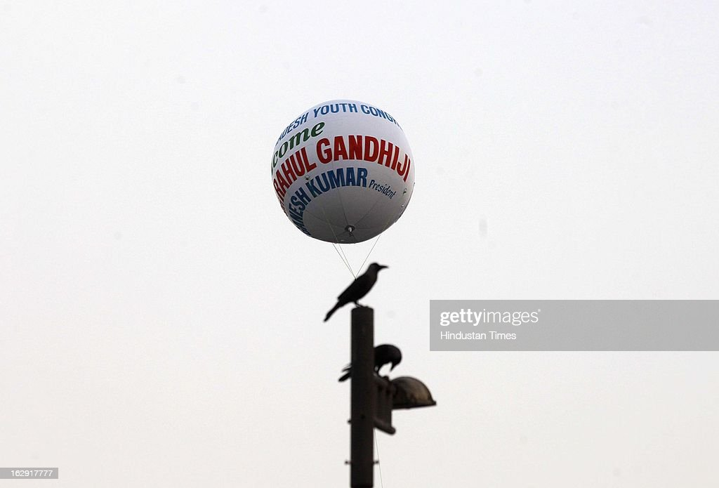 An Air Balloon welcoming Congress Vice-President, Rahul Gandhi at Bandra on March 1, 2013 in Mumbai, India. Rahul Gandhi is visiting Mumbai for the first time after he took over as Congress vice president.