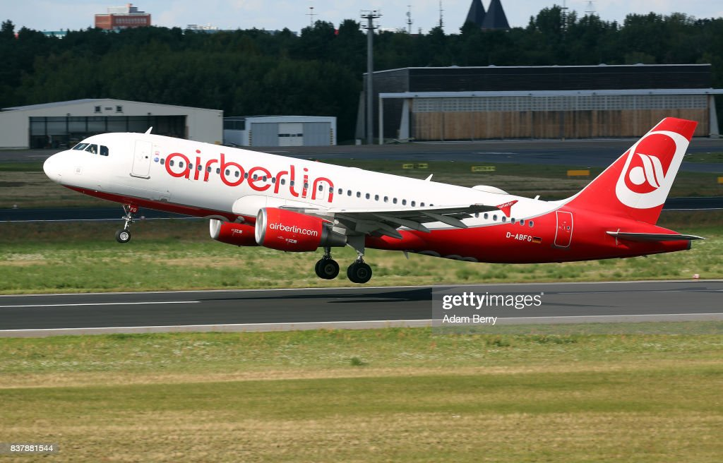 An Air Berlin airplane takes off at Tegel Airport (TXL) on August 23, 2017 in Berlin, Germany. Air Berlin's creditors are meeting to discuss acquisition of the insolvent carrier's assets. The airline has been in talks with interested parties since last week after filing for bankrupty when its major shareholder, Etihad, backed out of its funding. Lufthansa, also interested in Air Berlin's Austrian subsidy Niki, Thomas Cook, easyJet and Ryanair are all said to be participating in discussions.