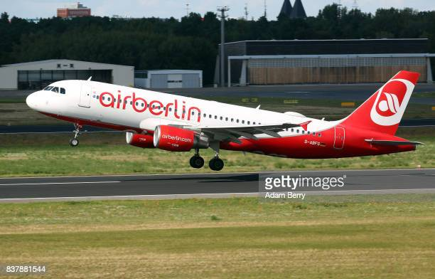 An Air Berlin airplane takes off at Tegel Airport on August 23 2017 in Berlin Germany Air Berlin's creditors are meeting to discuss acquisition of...