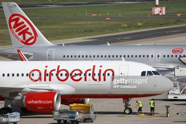 An Air Berlin plane is pictured on the tarmac at the Tegel airport in Berlin on August 15 2017 Germany's struggling budget airline Air Berlin on...