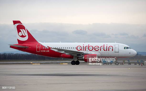 An Air Berlin Plc passenger aircraft taxis to the gate at Vienna International Airport operated by Flughafen Wien AG in Vienna Austria on Friday Jan...