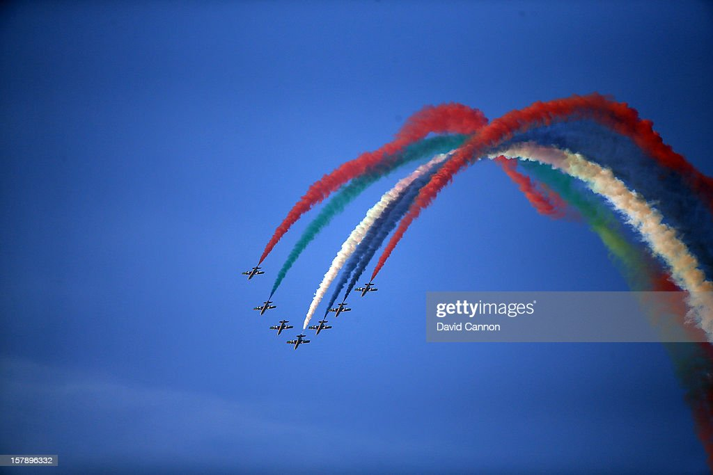 An air display in the skies above Dubai Marina near to the course during the third round of the 2012 Omega Dubai Ladies Masters on the Majilis Course at the Emirates Golf Club on December 7, 2012 in Dubai, United Arab Emirates.