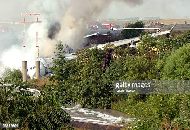 An Air France A340 burns after running off the runway at Pearson International Airport August 2 2005 in Toronto Canada The passenger jet burst into...