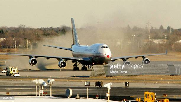 An Air India jetliner taxis after landing at John F Kennedy International Airport after authorities determined that a suspicious passenger was aboard...