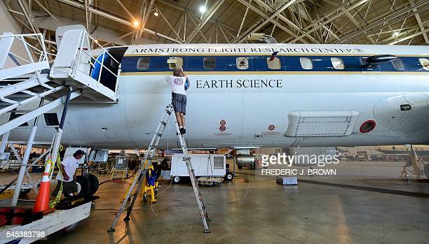 An air measuring device is fitted into a window on NASA's highly modified Douglas DC8 jetliner which operates as a flying science laboratory as it is...