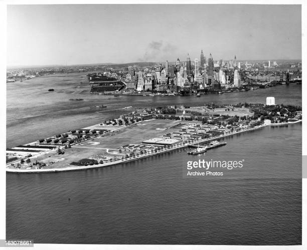 An air view of Governors Island a 172 acres island in Upper New York Bay in New York City New York 1955