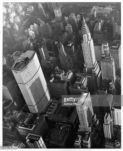 An air view of the Pan Am And the Chrysler Building in New York City New York circa 1960