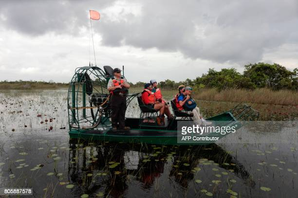 An airboat tour with a Soul River youth group tours the Arthur R Marshall Loxahatchee National Wildlife Refugee in Boynton Beach Florida on June 19...