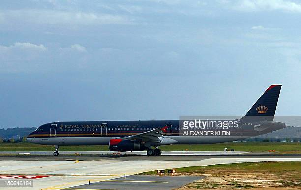 An Airbus A 321 airplane of the Royal Jordanian airlines lands at the Paris Roissy Charles de Gaulle airport in RoissyenFrance outside Paris on...
