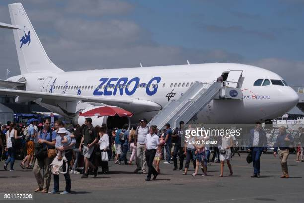 An Airbus A310 ZeroG aircraft is displayed at the Le Bourget Airport on the first public day of the 52nd International Paris Air Show on June 23 in...