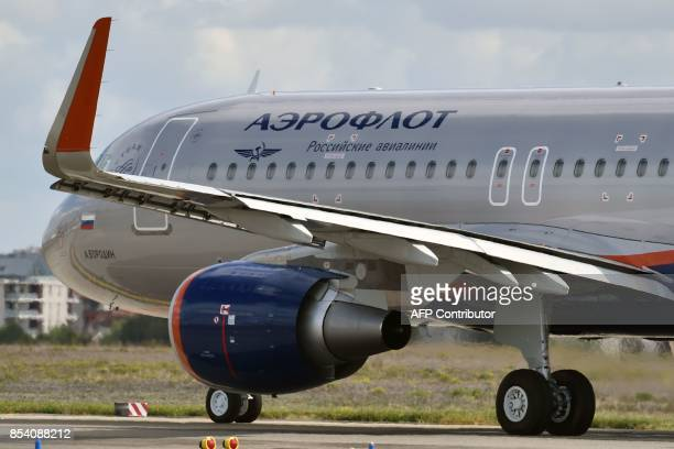 An Airbus A320 belonging to the Russian company Aeroflot prepares to take off on September 26 2017 from ToulouseBlagnac airport in southwestern...