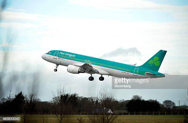 An Airbus A320 passenger aircraft operated by Aer Lingus Group Plc takesoff from Dublin Airport operated by Dublin Airport Authority in Dublin...
