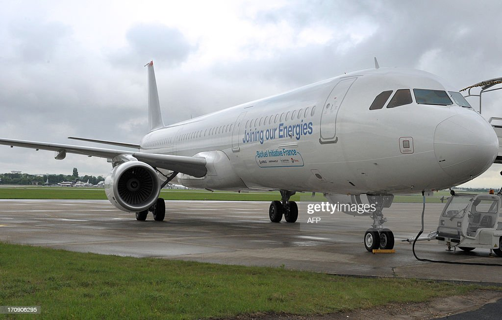 An Airbus A321 aircraft using Biojet A-1 Total/Amyris, a biofuel produced from an innovative sugar-processing technology, is parked on the tarmac at Le Bourget airport, near Paris on June 20, 2013 during the 50th International Paris Air show.