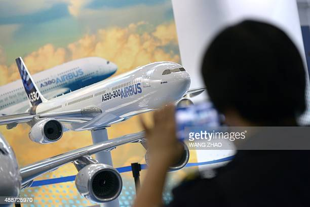An Airbus A330 model is displayed at the Beijing International Aviation Expo in Beijing on September 17 2015 Chinese budget carrier Spring Airlines...