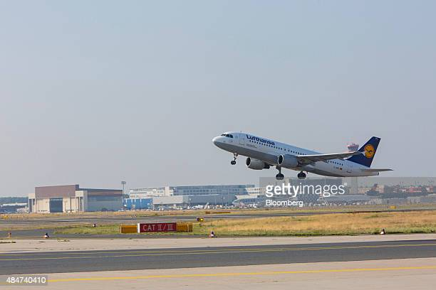 An Airbus A380 aircraft operated by Deutsche Lufthansa AG takes off from Frankfurt Airport operated by Fraport AG in Frankfurt Germany on Friday Aug...