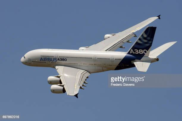 An Airbus A380 aircraft performs a flying display on the opening day of the 52nd International Paris Air Show at Le Bourget on June 19 2017 in Le...
