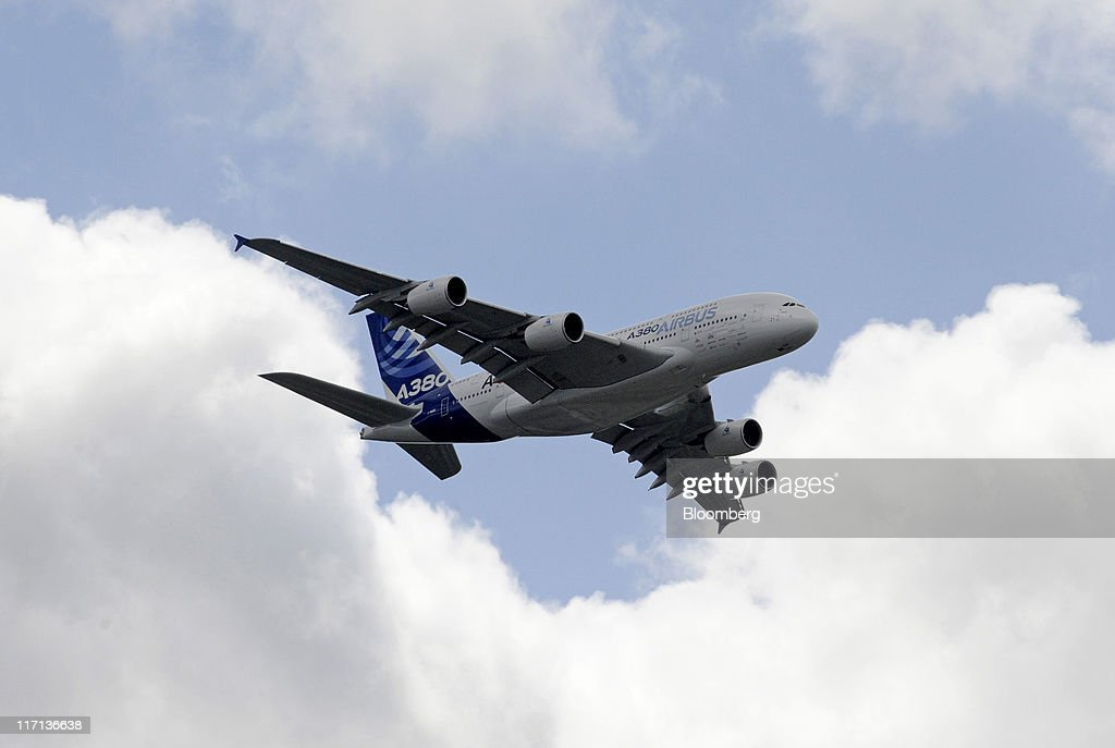 An Airbus A380 airliner is seen during a demonstration flight at the Paris Air Show in Paris, France, on Thursday, June 23, 2011. The 49th International Paris Air Show, the world's largest aviation and space industry show, takes place at Le Bourget airport June 20-26. Photographer: Fabrice Dimier/Bloomberg via Getty Images