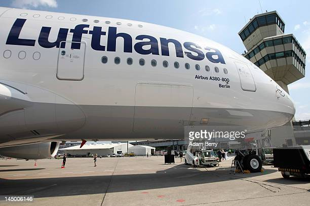 An Airbus A380 airplane that has just been christened 'Berlin' sits at Tegel airport prior to takeoff on May 22 2012 in Berlin Germany The...