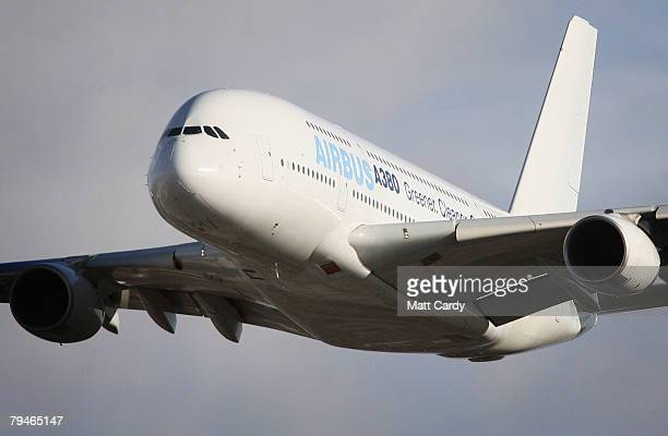 An Airbus A380 takes of from Filton Runway on February 1 2008 in Bristol United Kingdom Airbus were testing a new synthetic fuel on the passenger...