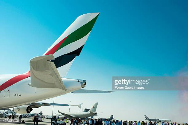 An Airbus A380800 manufactured by Airbus SAS and operated by Emirates is displayed during the 2015 Dubai Airshow on November 9 2015 in Dubai United...