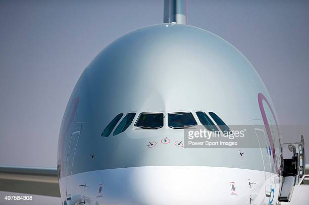 An Airbus A380800 manufactured by Airbus SAS and operated by Qatar Airways is displayedduring the 2015 Dubai Airshow on November 9 2015 in Dubai...